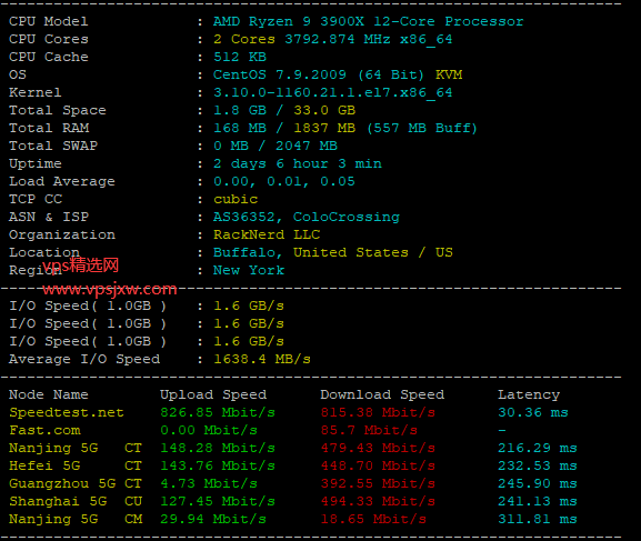 racknerd 纽约机房 Ryzen Linux VPS Specials 主机全面评测,高性能 vps 表现如何?