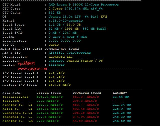 racknerd 怎么样?美国芝加哥机房高性能便宜主机 Ryzen Linux VPS 全面测评